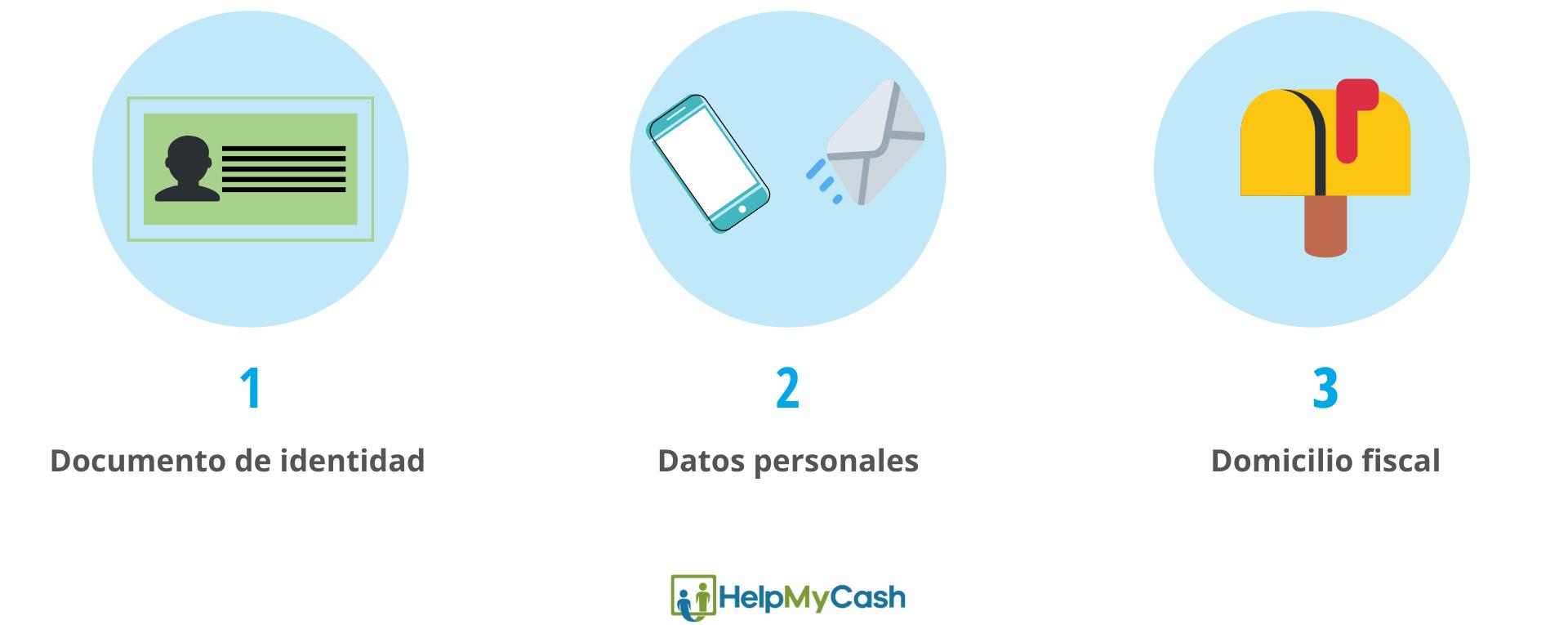 Cómo abrir una cuenta bancaria: 1- presentar el documento de identidad. 2- datos personales. 3- domicilio fiscal