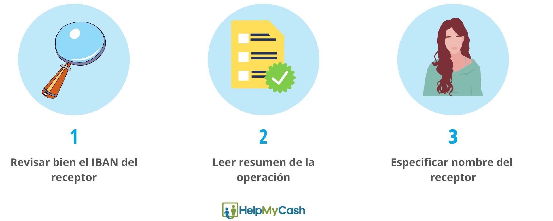 evitar errores en las transferencias bancarias: 1- revisar bien el IBAN del receptor. 2- leer el resumen de la operación. 3- especificar nombre del receptor